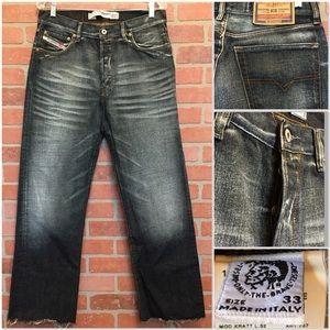 Diesel men's jeans 33 x 30 raw hem dark (4R53)